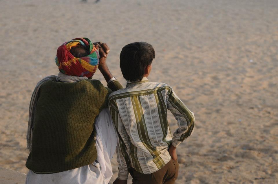 Father and son at Pushkar Camel Fair India