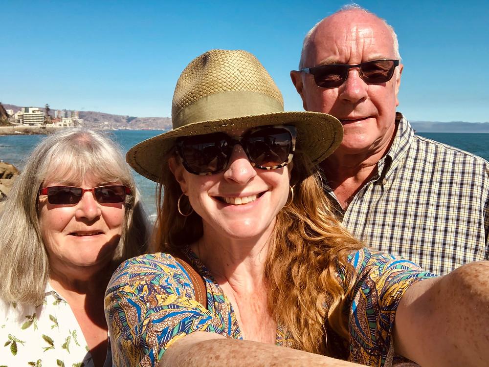 Nicola Chilton with parents in Viña del Mar, Chile
