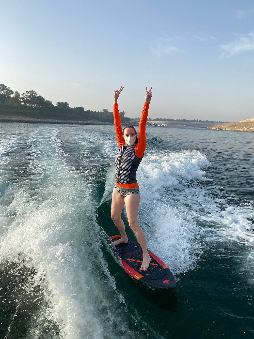 Nicola Chilton wakesurfing in Ghantoot with mask