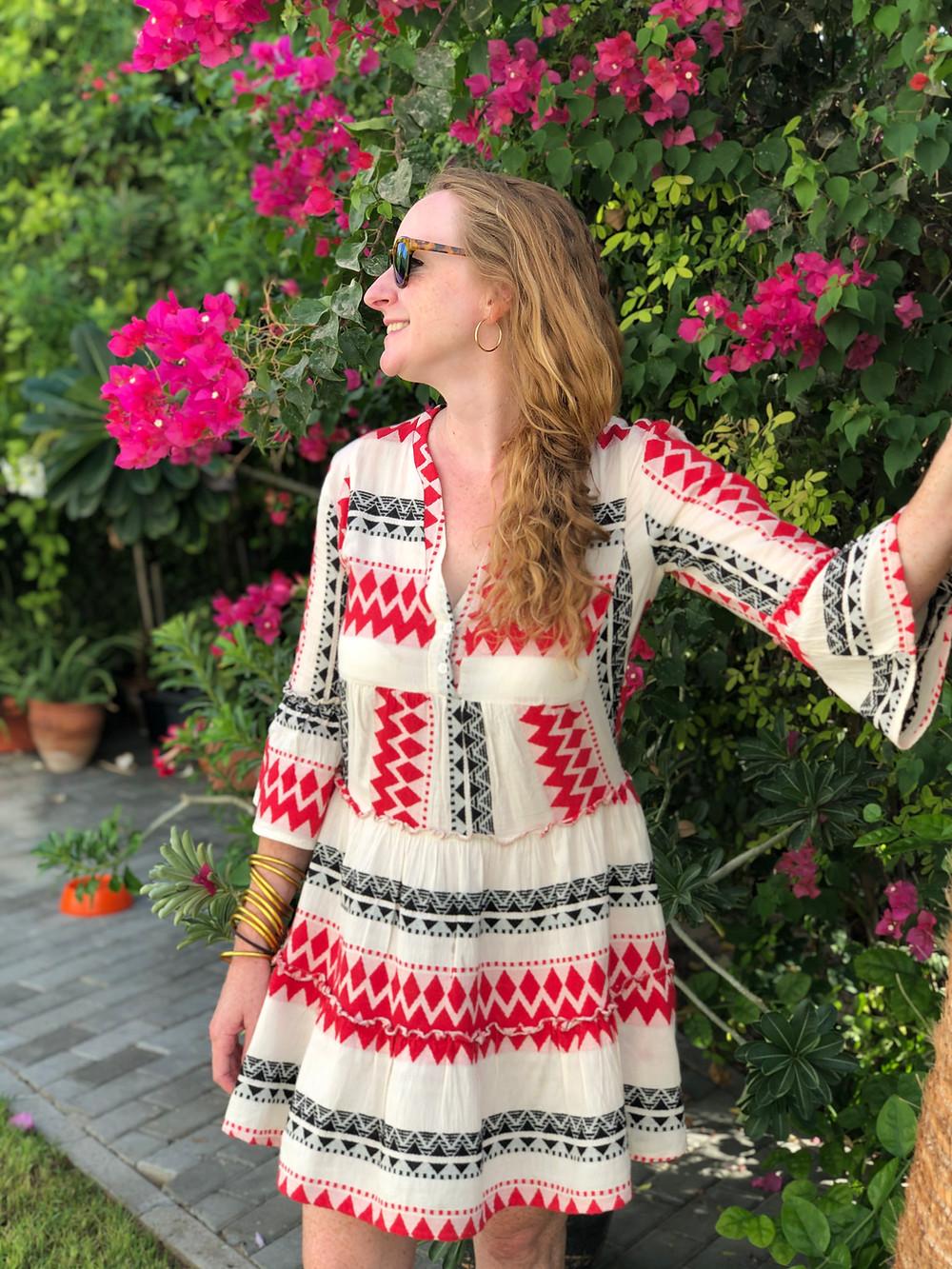 Nicola Chilton in the garden in Dubai