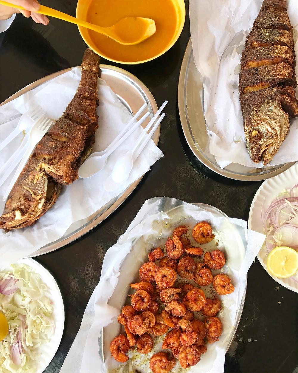 Fish and prawns at Bu Qtair restaurant
