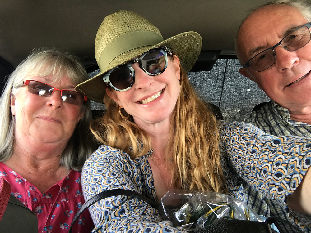 Nicola Chilton with parents in Uzbekistan
