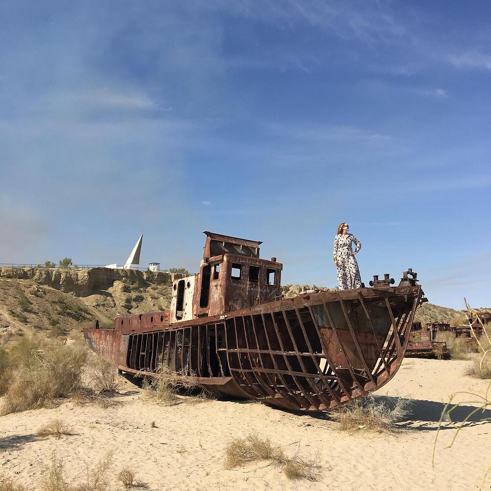 Nicola Chilton in the Aral Sea in Uzbekistan