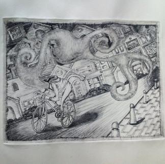 Hombre sueños en bicicleta