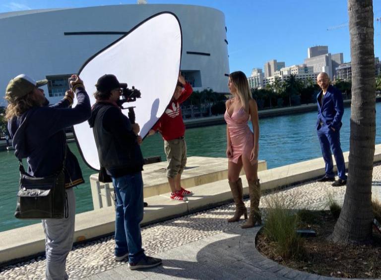 Julio Sonino and his team directing Mathias Prando music video in Miami