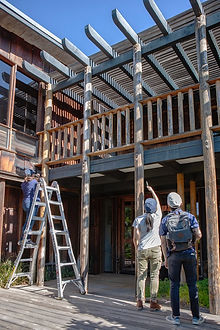 WJE inspectors with ladder at balcony- Photo Credit Leslie Schwartz.jpg
