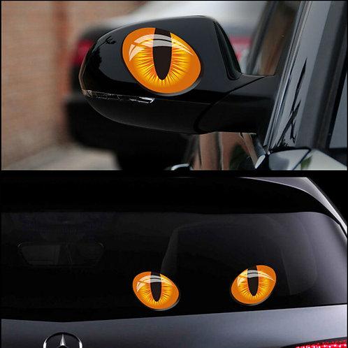 2pcs 12*10cm Cute Simulation Cat Eyes Car Stickers 3D Vinyl