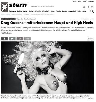 Artikel auf Stern.de zum Thema Drag Queens von Isabel Zettwitz