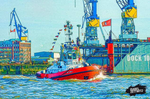 GRAPHIC NOVELS: Schlepper vor Blohm & Voss Dock 10