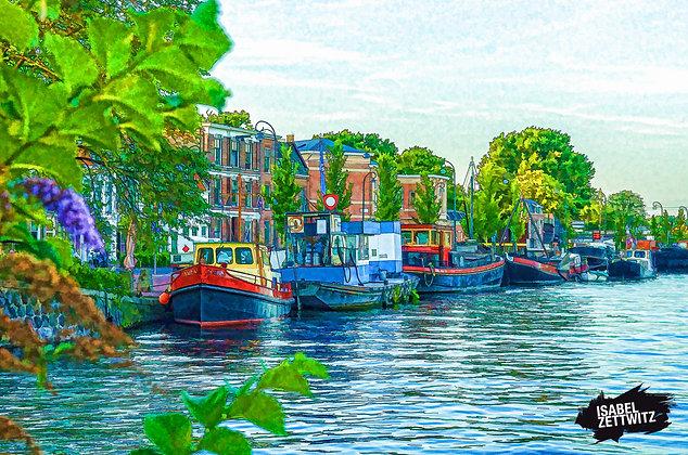 GRAPHIC NOVELS AMSTERDAM: Hausboote auf der Spaarne