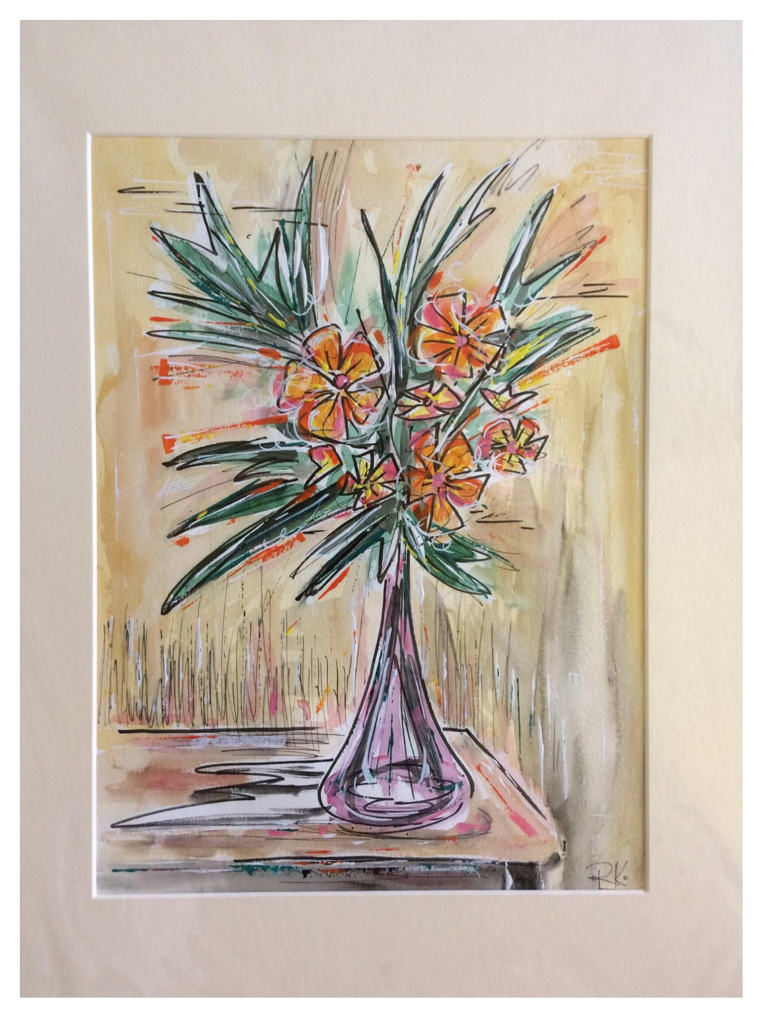 Orange Flowers in Vase