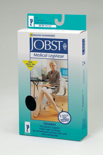 Jobst Opaque Open Toe Thigh High 20-30 mmHg Firm Support Stockings