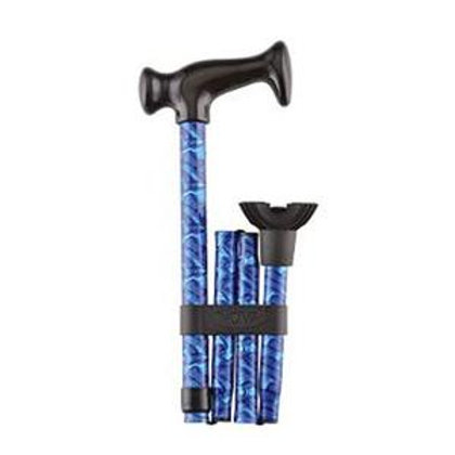 Nova-Ortho Med Aluminum Folding Walking Cane, Mini Quad Cane Tip, Blue Waves