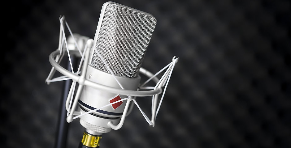 Studio Microphone with Acoustic Foam Tiles.jpg  Shallow Depth of Field with focus on mic grill.jpg