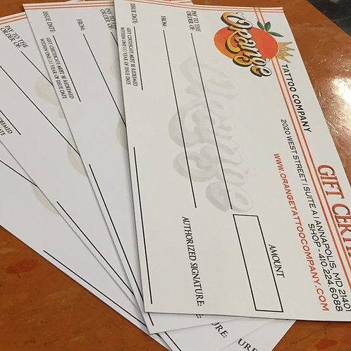 Orange Tattoo Company Gift Certificates