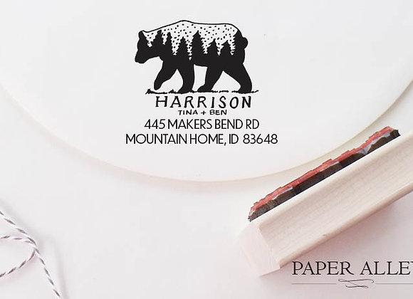 Customized Bear Return Address Rubber Stamp Hand Lettered Treeline Rustic Mounta