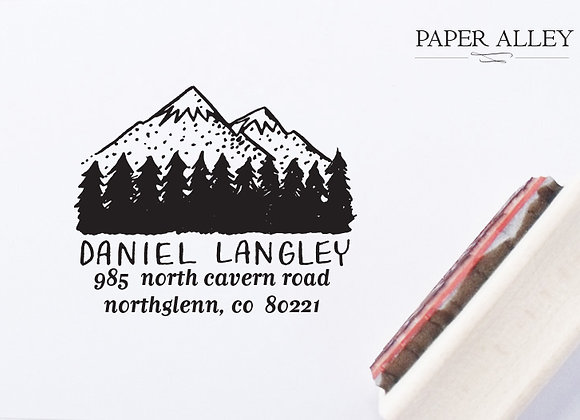 Customized Mountain and Trees Return Address Stamp Snowcaps Rustic Cabin Handlet
