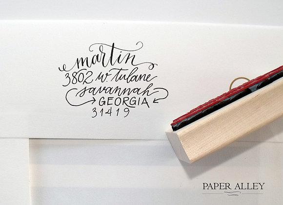 Customized Fully Hand Lettered Return Address Stamp Whimsical Modern Stationery