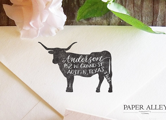 Customized Longhorn Address Stamp Hand Lettered Calligraphy Housewarming Wedding