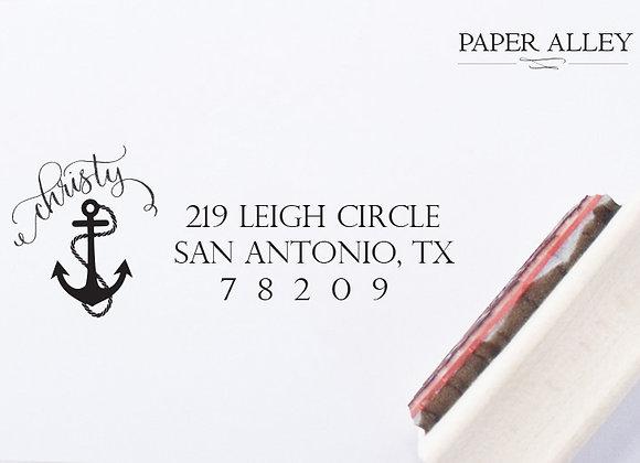 Customized Anchor Return Address Stamp Partial Calligraphy Nautical Ocean Sea Sa