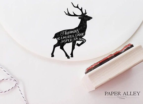 Customized Reindeer Return Address Stamp Buck Antler Rustic Christmas Holiday Ca