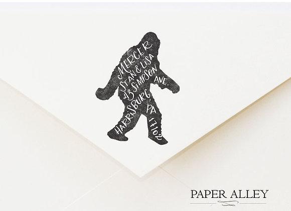 Customized Bigfoot Return Address Stamp Hand Lettered Sasquatch Yeti Mythologica