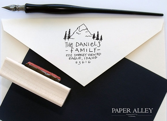 Customized Mountain And Trees Return Address Stamp Hand Lettered Stationery Rust