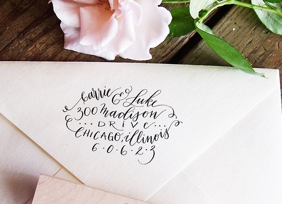 Custom Address Stamp Hand Lettered Modern Calligraphy Script Personalized Housew