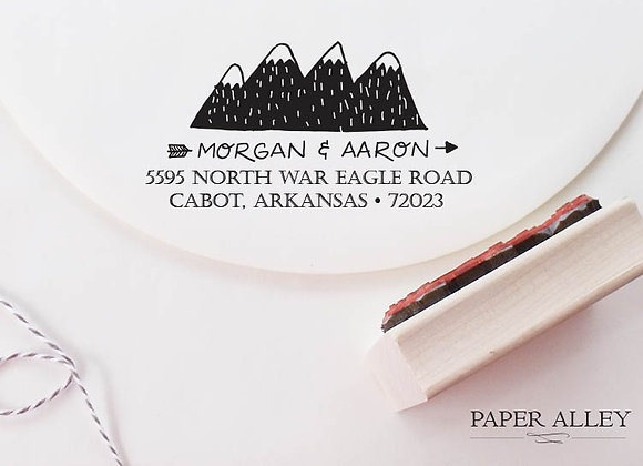 Customized Mountain Range Return Address Stamp Folk Art Stationery Invitations E