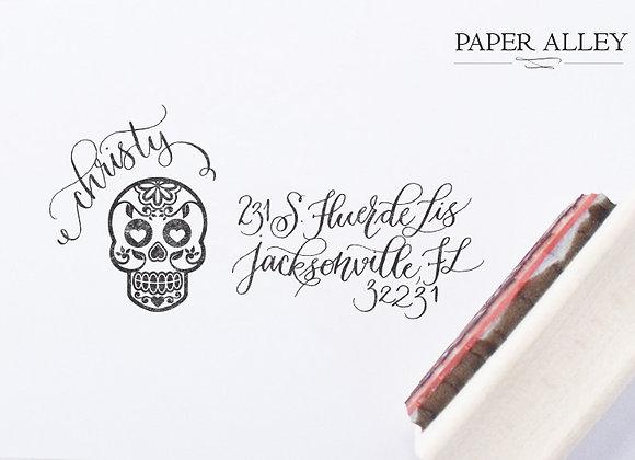 Customized Sugar Skull Return Address Stamp Day Of The Dead Dia De Los Muertos M