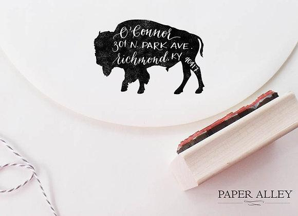 Customized Buffalo Return Address Stamp Boho Bison Vintage Rustic Wedding Invita