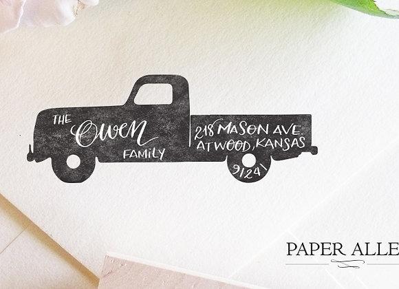 Customized Vintage Truck Return Address Stamp Hand Lettered Calligraphy Antique