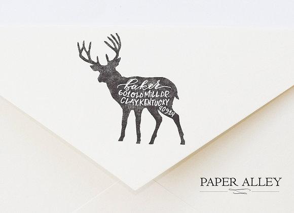 Customized Deer Return Address Stamp Buck Antler Rustic Woodlands Forest Style E