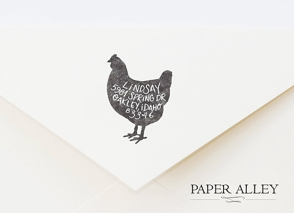 Customized Chicken Return Address Ink Stamp Hen Rustic Farmhouse Housewarming We