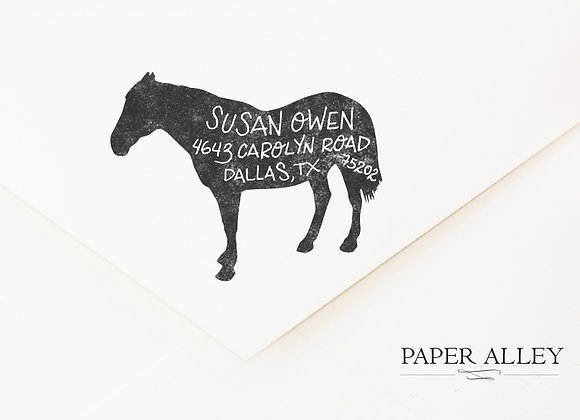 Customized Horse Return Address Rubber Stamp Pony Equine Farmhouse Rustic Statio