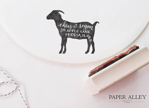 Customized Goat Address Stamp Calligraphy Hand Lettered Goats Farm Farmhouse Rus