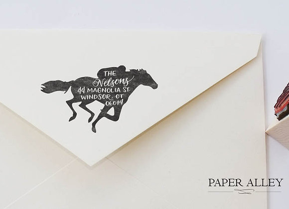 Customized Race Horse Return Address Stamp Horse Racing Equestrian Jockey Kentuc