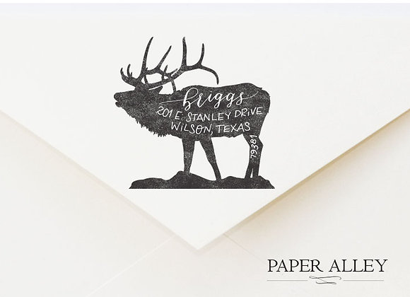 Customized Elk Return Address Stamp Buck Antler Rustic Woodlands Forest Style Fo