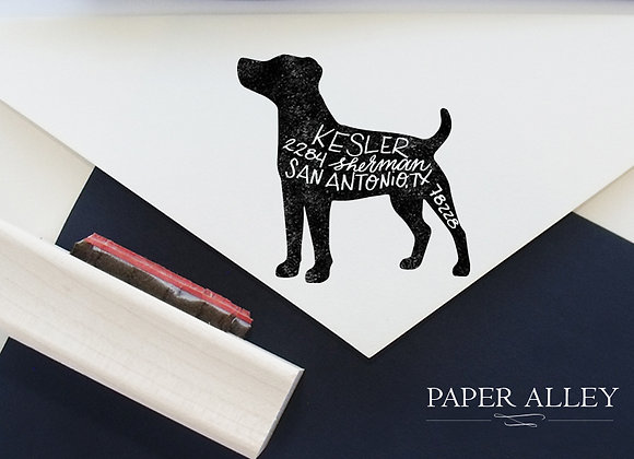 Customized Dog Return Address Rubber Stamp Hand Lettered Puppy Lab Housewarming