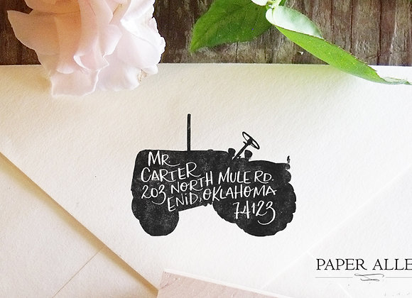 Customized Tractor Silhouette Address Stamp Hand lettered Housewarming Wedding G