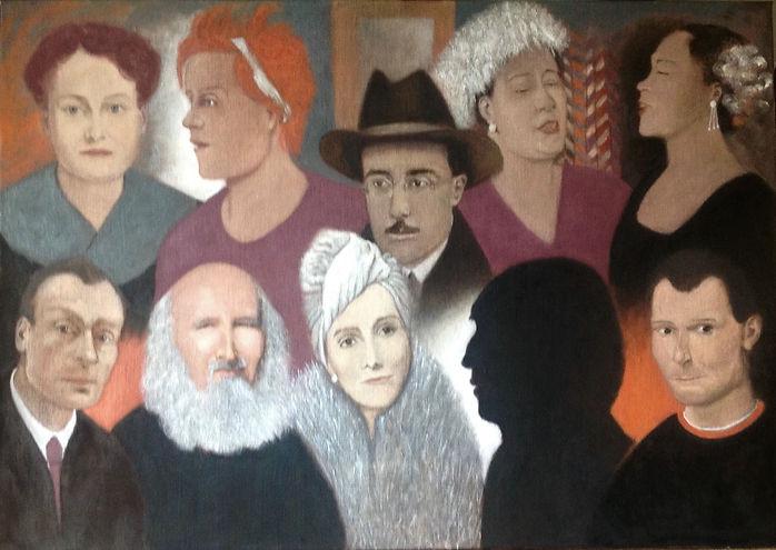 10 portraits, tempera sur toile, 113 x 80 cm, 2020