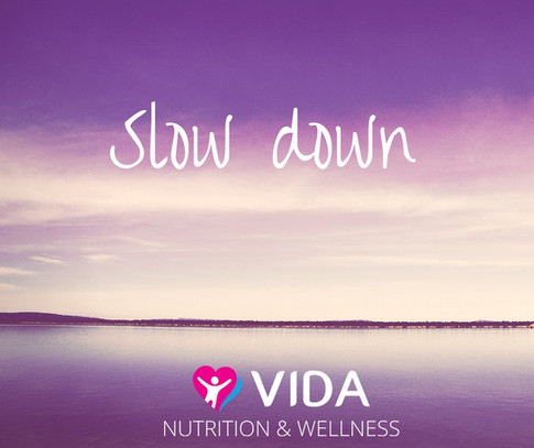 Slow down. One of the simplest and most effective habits you can do, is to slow down. Set a great example at dinner time by allowing time to eat. Remove distractions (TV, Facebook, internet surfing, reading). Cut food into smaller portions and chew thoroughly. Breathe between mouthfuls (no, I am not joking, people forget to breathe). And stop telling the kids to hurry so that they benefit too.