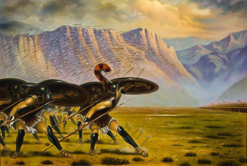 Αναπαράσταση της μάχης του μαραθώνα από τον καλλιτέχνη Παναγιώτη Αθανασιάδη