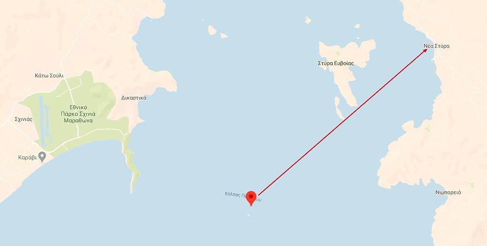Αυτή τη διαδρομή κατάφερε να καλύψει ο ναυαγός Θ. Ντοβάνος  σε συνθήκες πραγματικά δραματικές αν σκεφτούμε ότι ήταν νύχτα και χειμώνας.