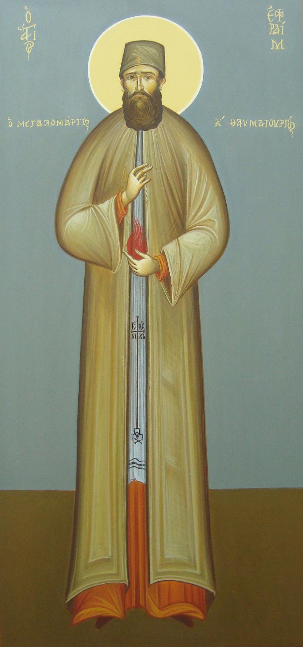 Ο Άγιος Εφραίμ από την καλλιτέχνιδα Αποστολία Κιοκμένογλου