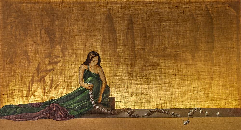 """Έργο της ζωγράφου Βαρβάρας Γεροδήμου με τον τίτλο """"Αναμνήσεις"""""""