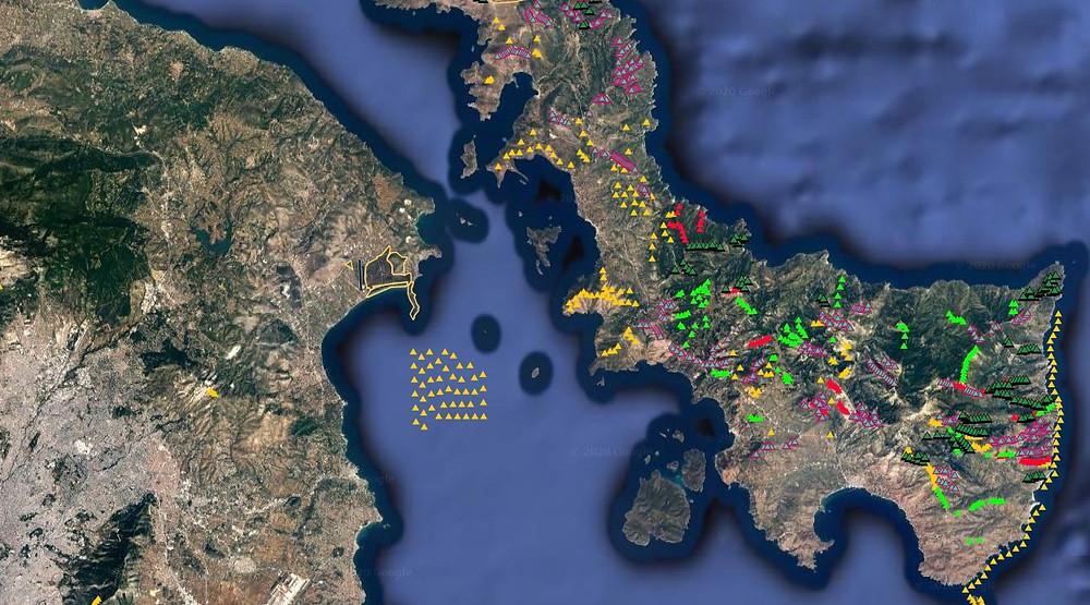 Στον χάρτη φαίνεται ξεκάθαρα, πάνω αριστερά το κωπηλατοδρόμιο του Σχινιά. Με κίτρινη γραμμή η προγραμματισμένη θέση για κατασκευή του αιολικού πάρκου, όπως παρουσιάζεται στο Γεωπληροφοριακό Χάρτη