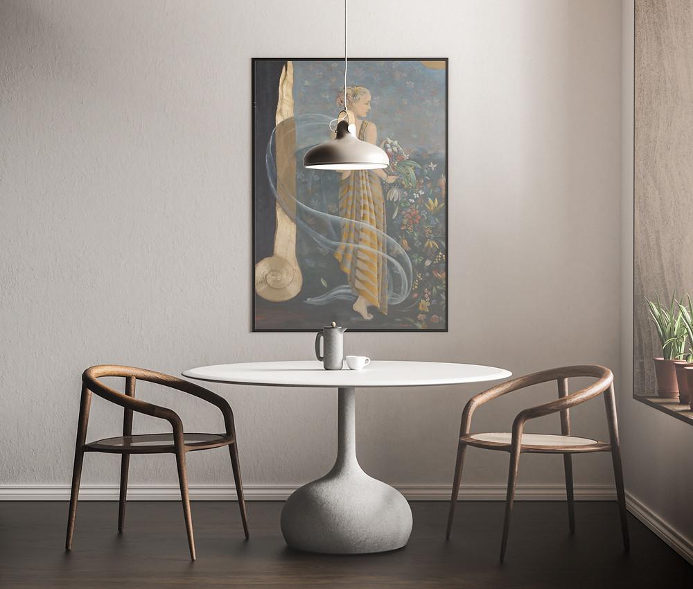 Πίνακας «Η Περσεφόνη» της καλλιτέχνιδος Βαρβάρα Γεροδήμου | Mock up by Anthony Boyd Graphics