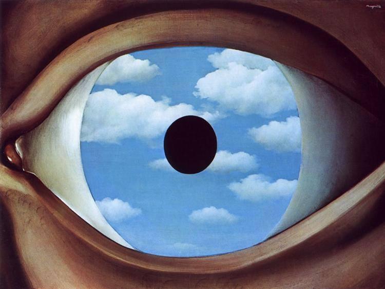 «The False Mirror» (1928) Λάδι σε καμβά, διαστ. 54x80,9 εκ., Μουσείο Μοντέρνας Τέχνης (MoMA) Νέας Υόρκης Έργο τουRéné Magritte
