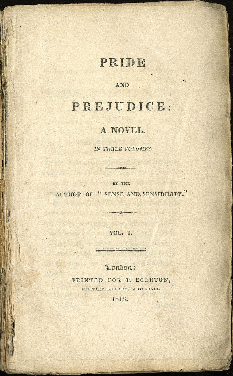 Το εξώφυλλο του βιβλίου κατά την πρώτη έκδοσή του το 1813 / Περηφάνια και Προκατάληψη της Τζέιν όστεν